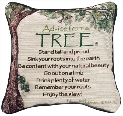 Decorative Pillows - Advice From a Tree Pillow - Reversible Tapestry Pillow
