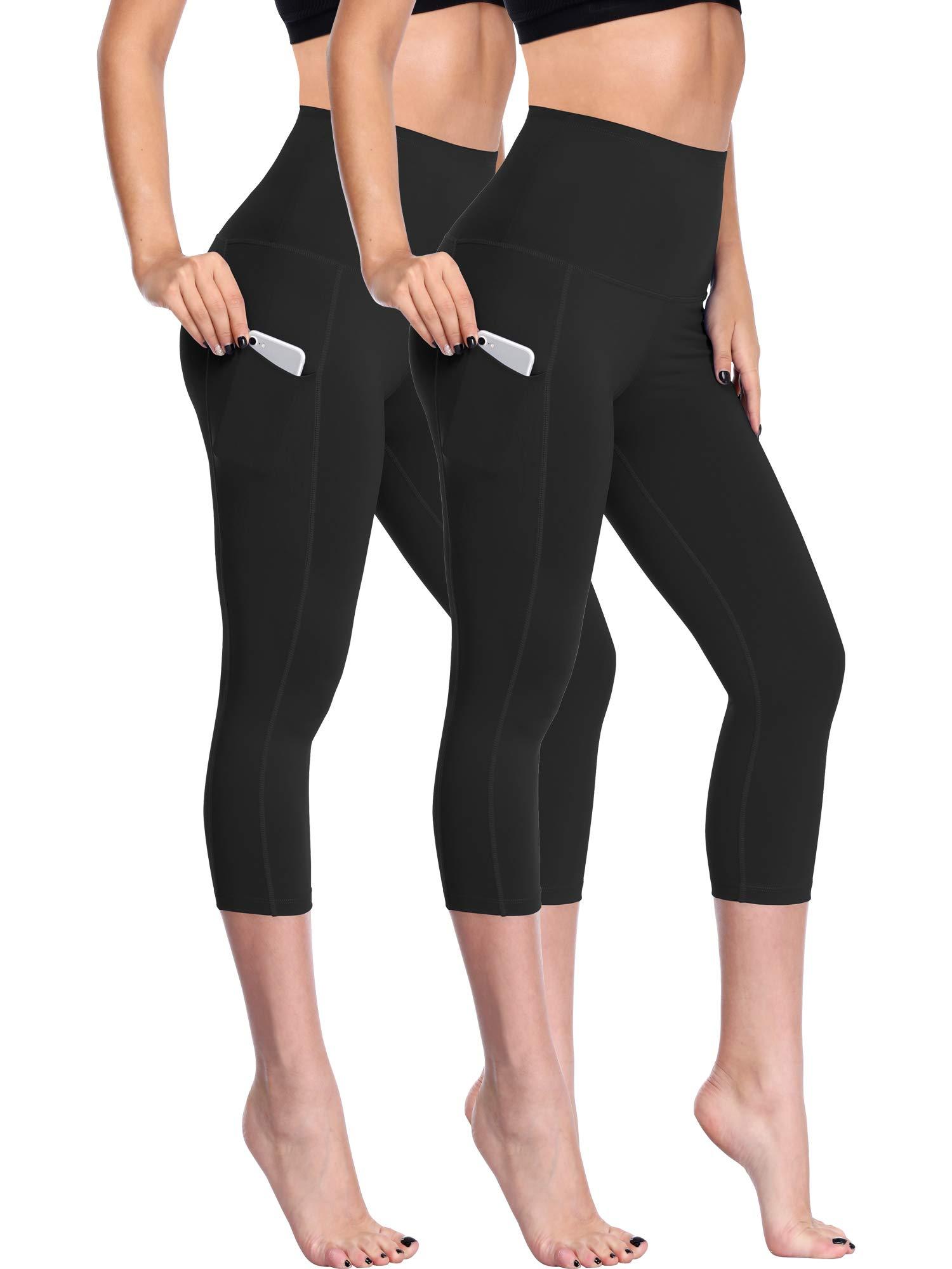 Neleus Women's 2 Pack Tummy Control High Waist Capris Leggings Yoga Pants with Two Pockets,109,Black,Black,2XL by Neleus