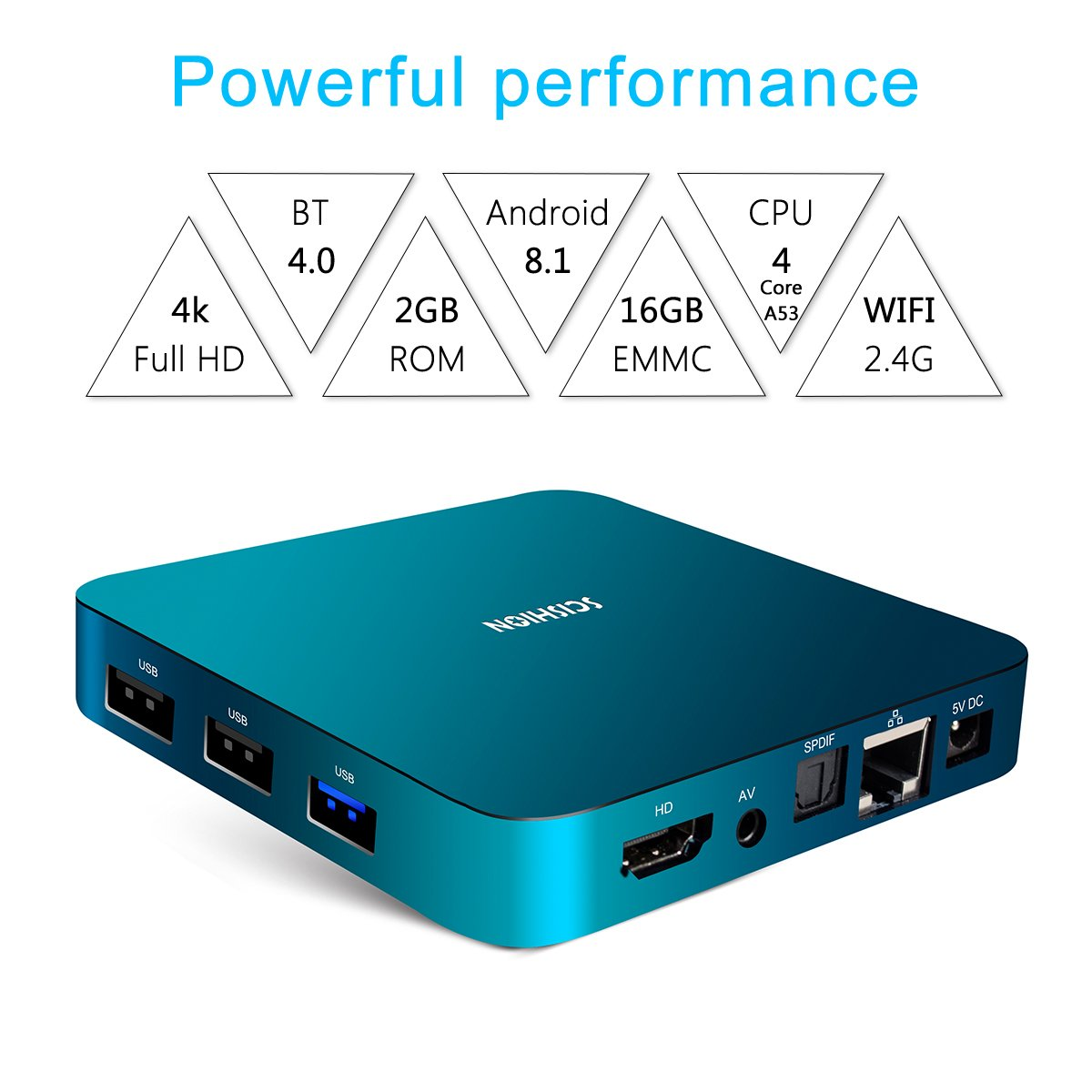 Android 8.1 TV Box with Voice Remote, RK3328 Quad Core 64bit 2GB DDR3 16GB eMMC Memory Smart TV Box with Bluetooth 4.0 WiFi Ethernet HDMI HD 4K Media Player Set Top Box by YAGALA (Image #4)