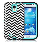 S4 Case, Galaxy S4 Case, ArtMine Chervon 3 in 1 Hybrid Impact Resistant Silicone & Plastic Tough Rugged Heavy Duty Armor Combo Defender Protective Case for Samsung Galaxy S4 (Mint)