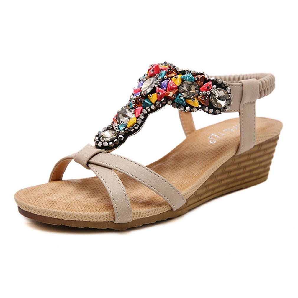 AVENBER Women's Open Toe Bohemian Beads Bling Embellished Wedge Platform Summer Dress Sandals B07CK956NR 9 B(M) US Apricot
