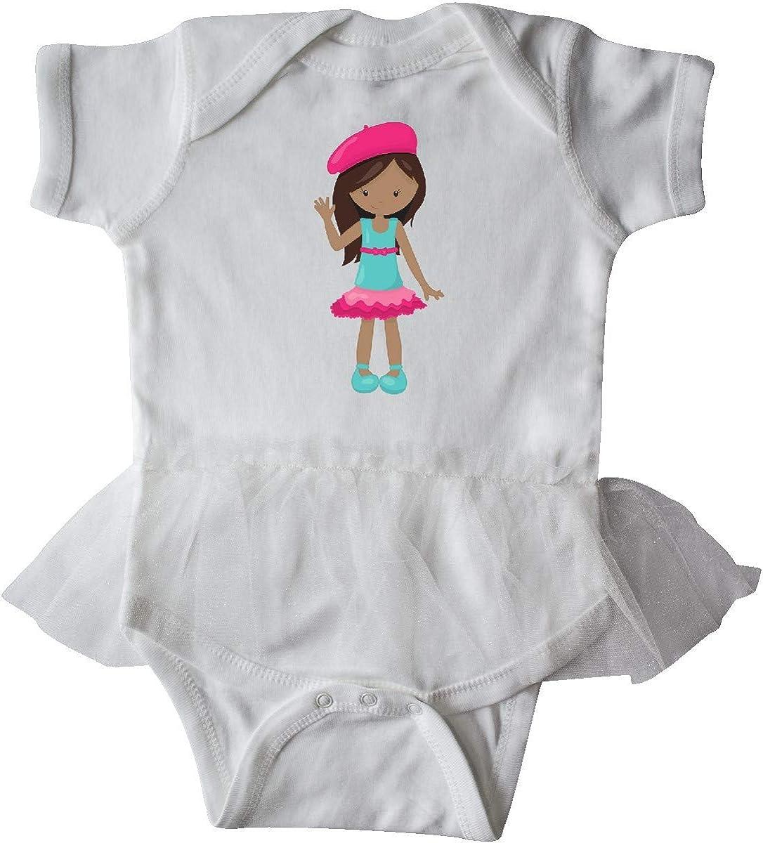 inktastic African American Girl Fashion Girl Pink Beret Infant Tutu Bodysuit