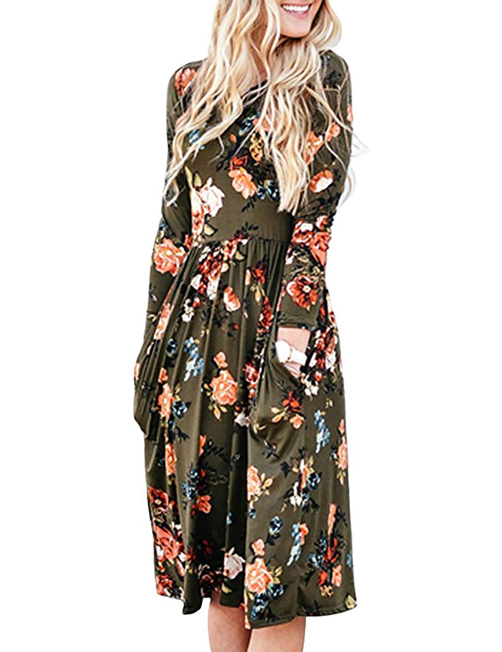 Tunic Dress,FINMYE Women's Knee Length Dresses with Sleeves and Pockets Green Floral XL