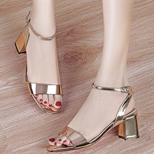 Buckle In Mirror Summer KPHY Shoes Match Shallow A Coarse New Female silvery Sandals Popular With All Fashion IBTTEnvqA