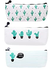 Cosanter 3PCS Bolsa para Lápices de lona del Estuche Escolar Patrón de Cactus Para Los Estudiantes y Empleado de Oficina