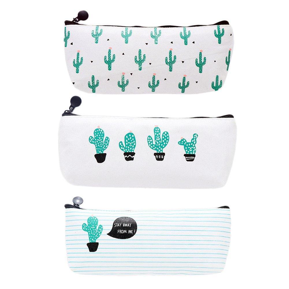 Cosanter - Estuche para lápices o maquillaje con estampado de cactus, 3 unidades