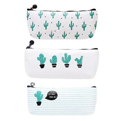Westeng 3PCS Bolsa para Lápices de lona del Estuche Escolar Patrón de Cactus Caja de lápices con Cierre Cremallera