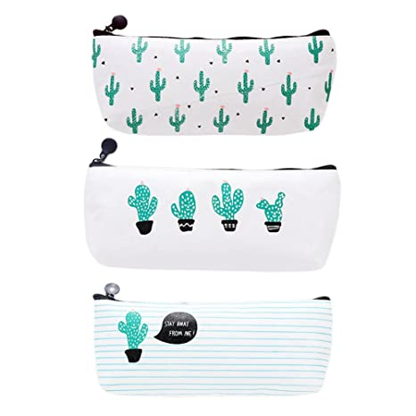 Doitsa Pencil Case Set of 3 Cactus Canvas Pen Case Pencil Bag Holder Stationery Pouch Cosmetic Bags