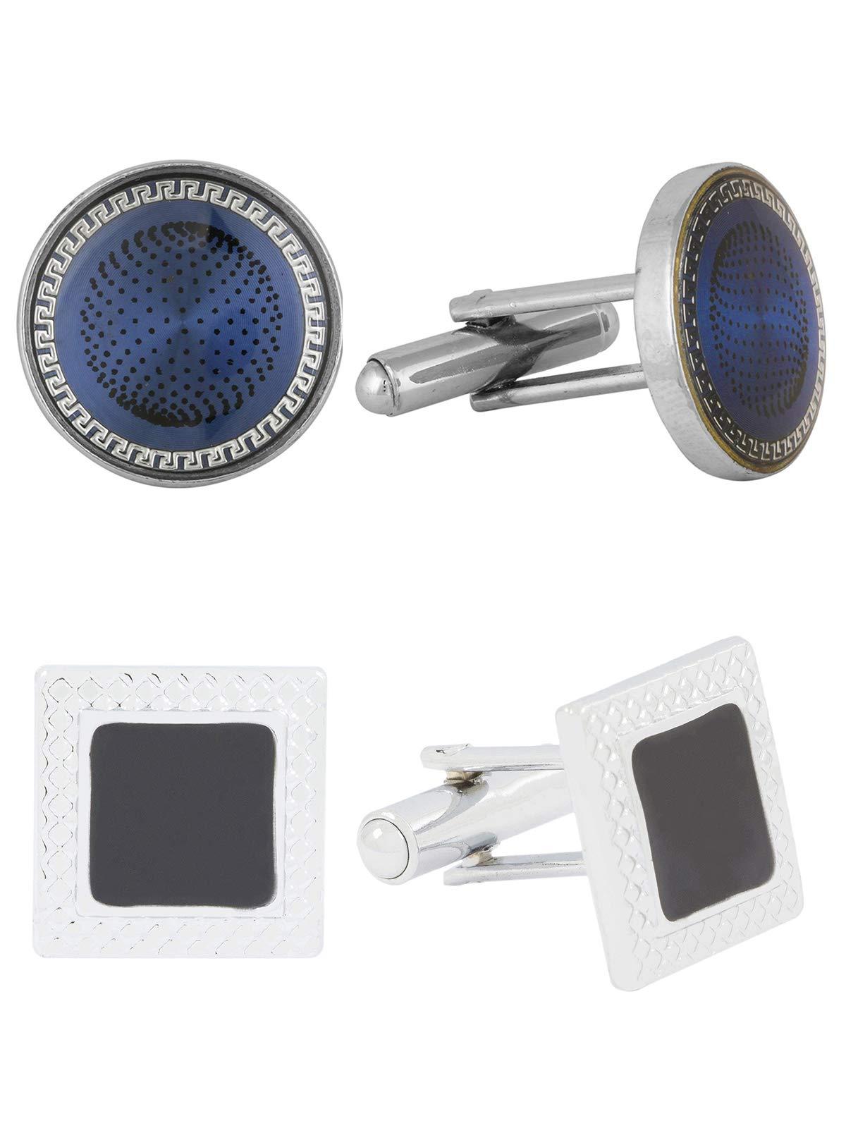 The Jewelbox Square Black Enamel & Blue Round Designer Dots Formal Shirt Blazer Suit Cufflinks of 2 Pair Men Gift Box