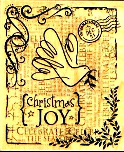 - Collage Christmas Joy Wood Mounted Rubber Stamp (K4830)