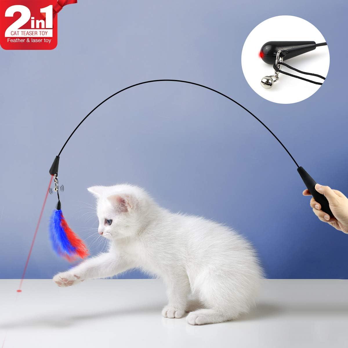 Namsan Gato Muelle Juguete Interactivo con Mancha roja Gato Teaser Varita mágica Seguro Atractivas Divertido Juguete para Gato Ejercicio Entrenamiento: Amazon.es: Productos para mascotas