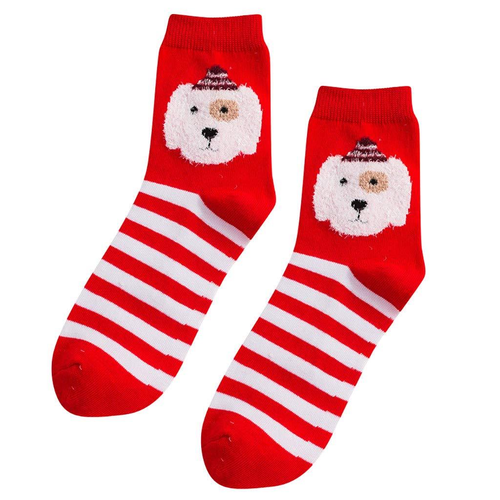 DEELIN Calcetines Mujeres NiñAs Imprimir De Dibujos Animados De Color Rojo Calcetines De Tubo Medio CalcetíN De AlgodóN Chrismas Calcetines De Navidad Para ...