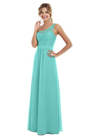 Beauty Bridal Womens One Shoulder Bridesmaid Chiffon Prom Dresses Long Evening Gowns S007 (2,