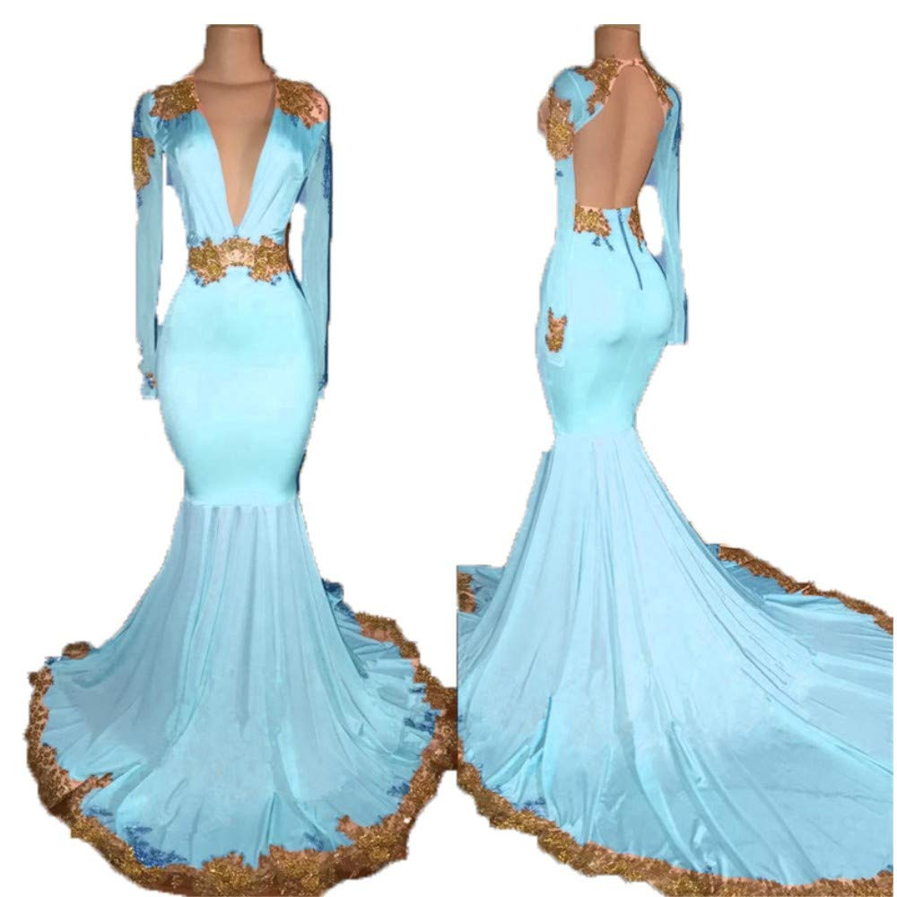 bluee Liaoye Lace Prom Dresses Long Sleeves 2018 for Women Formal Deep V Neck Evening Dresses Mermaid Evening Party Gowns