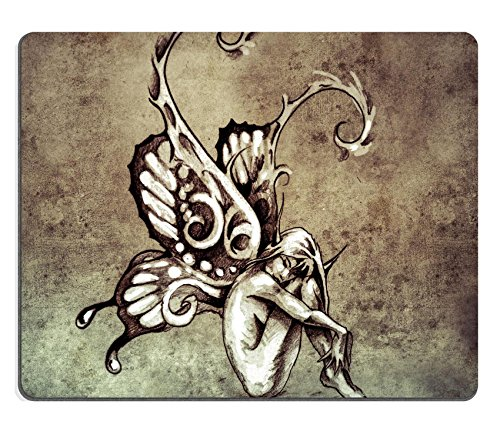 [Liili Mouse Pad Natural Rubber Mousepad IMAGE ID 32340861 Sketch of tattoo art fairy with butterfly wings on vintage paper handmade] (Fairy Wing Tattoos)