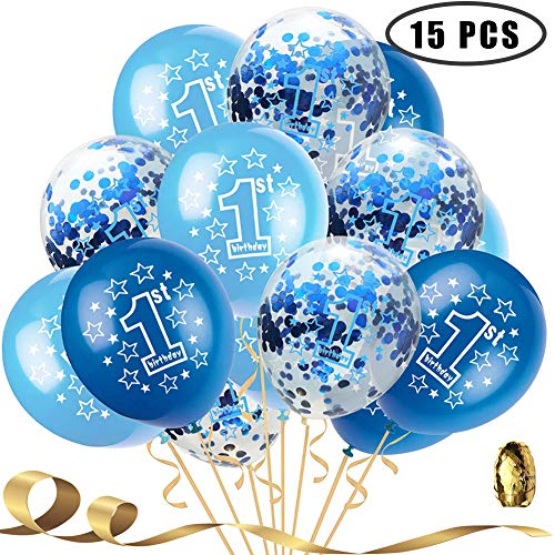 1st Boy Happy Birthday Confetti Balloons,First Birthday Decorations 12 Inch Large Navy Blue Latex Helium Balloons Perfect for Baby Boy Party Supplies(Pack of 15) -