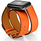 Maxjoy Compatible with Apple Watch Band, Genuine Leather Bands 38mm 40mm 41mm Strap Replacement Wristband with Metal Clasp Co