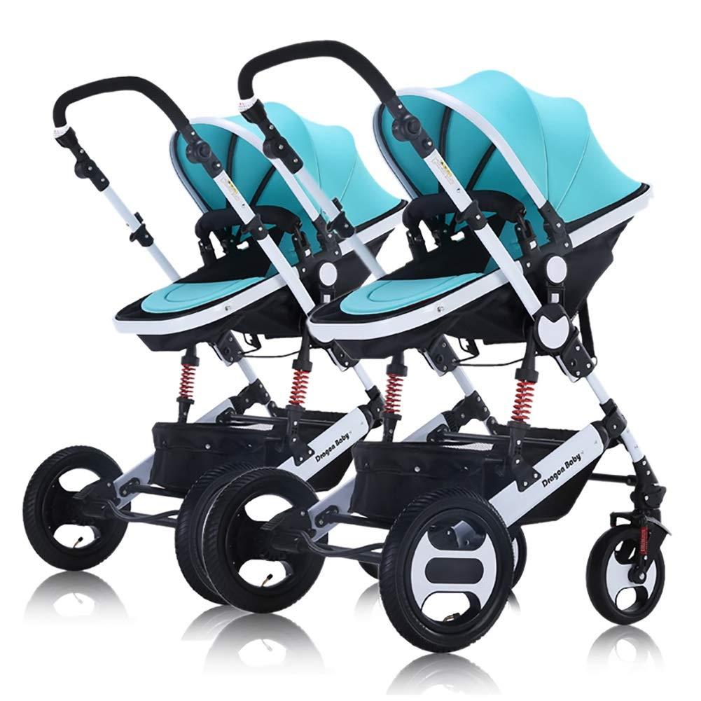 Guo@ Cochecito de bebé doble desmontable Cochecito de paseo ...
