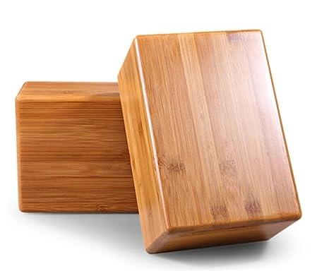 sleepsoon Juego de 2, 100% Natural bambú Yoga Blocks
