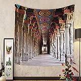 Gzhihine Custom tapestry Pillar Decor Tapestry Spiritual Theme Inside of Old Meenakshi Temple in South India Digital Image for Bedroom Living Room Dorm 60 W X 40 L Light Grey