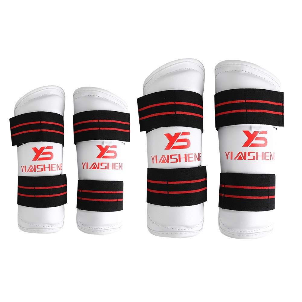 Dewin Taekwon 脚プロテクター 厚みのあるPUレザー アーム&すね当て 保護パッドセット 3色 B07JVJ8MPN ホワイト Medium