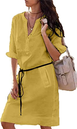 Mujer V Cuello Vestido Formal Manga Larga Vestido Camisa Vestidos Más Tamaño: Amazon.es: Ropa y accesorios