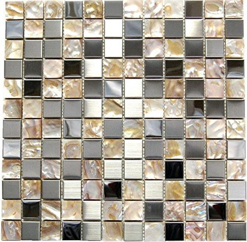 Stainless Steel + Shell Mix Mosaic - Opulence - 12x12''