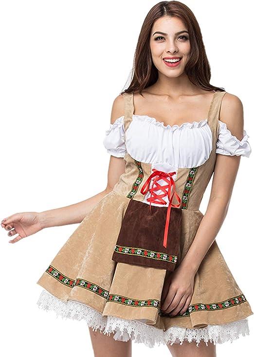 K16 Traditional Authentic Oktoberfest Beer Maid Costume Bavarian German Heidi