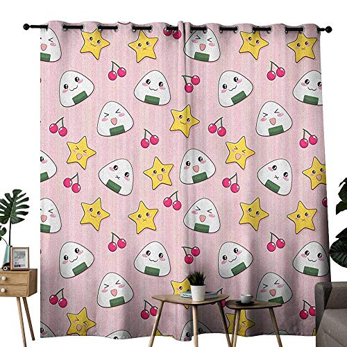 - duommhome Anime Light Luxury high-end Curtains Happy Crying Cute Cartoon Rice Balls Cherries Stars Pattern on Stripes Art Set of Two Panels W120 x L96 Pink Yellow and White