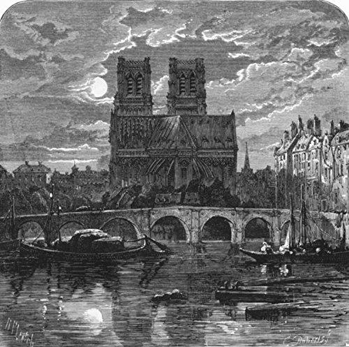 Paris. Cathedral of Notre Dame - old print - antique - vintage - Paris