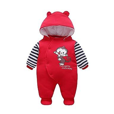 ff8d60baec82 Amazon.com  Unisex-baby Winter Romper Naughty Monkey Onesie Pajamas ...