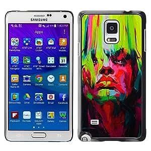 X-ray Impreso colorido protector duro espalda Funda piel de Shell para Samsung Galaxy Note 4 IV / SM-N910F / SM-N910K / SM-N910C / SM-N910W8 / SM-N910U / SM-N910G - Bright Vibrant Colors Green Red Painting