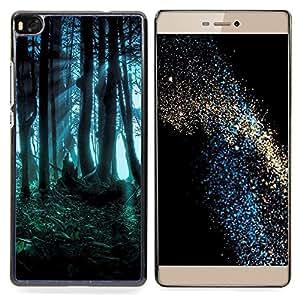 GIFT CHOICE / Teléfono Estuche protector Duro Cáscara Funda Cubierta Caso / Hard Case for Huawei Ascend P8 (Not for P8 Lite) // Forest Dark Fairy Mysterious Nature Summer //