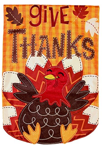 Briarwood Lane Turkey Thanksgiving Applique House Flag Holiday 28