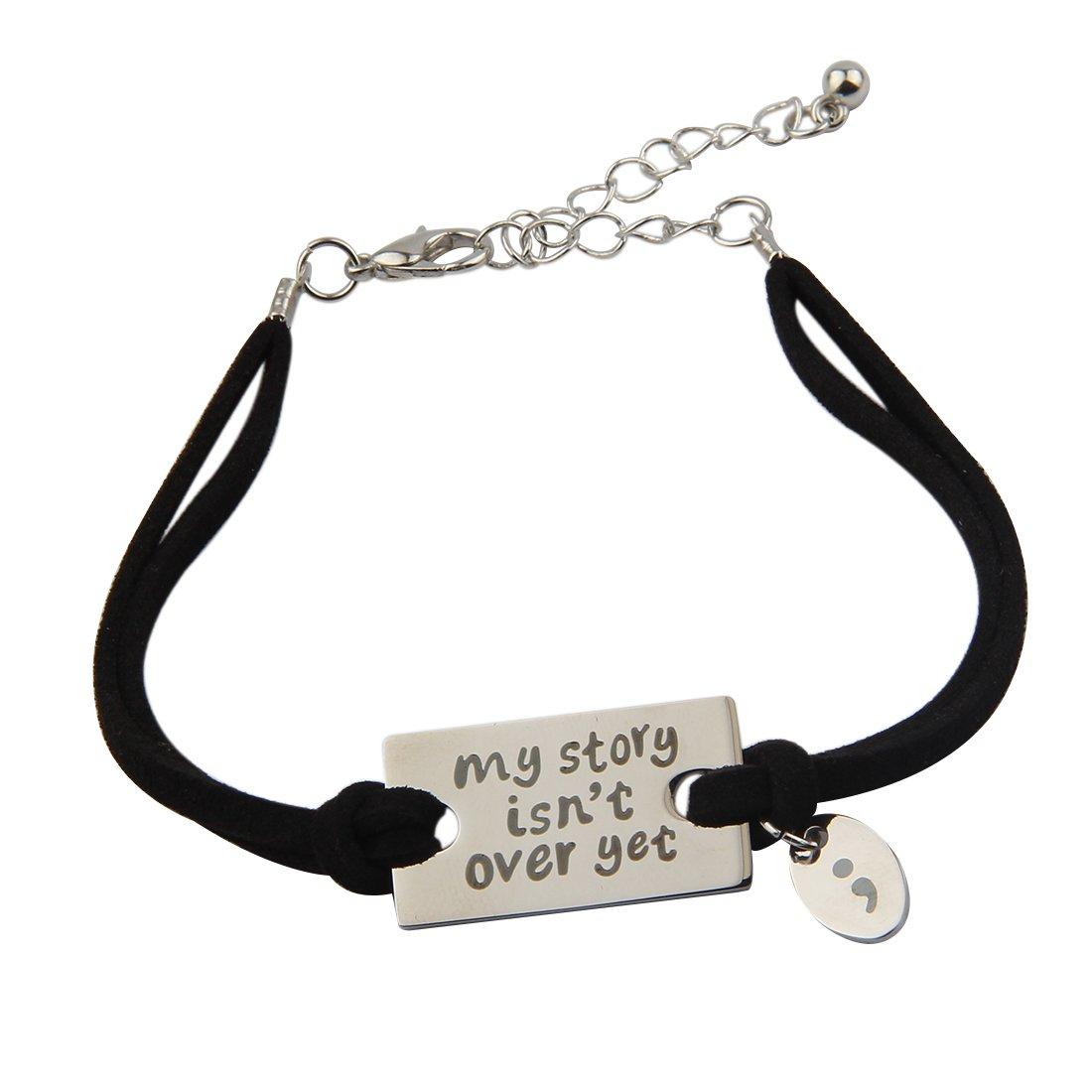 ZUOBAO My Story Isn't Over Yet Mental Health Awareness Wrap Bracelet (Silver B+black)
