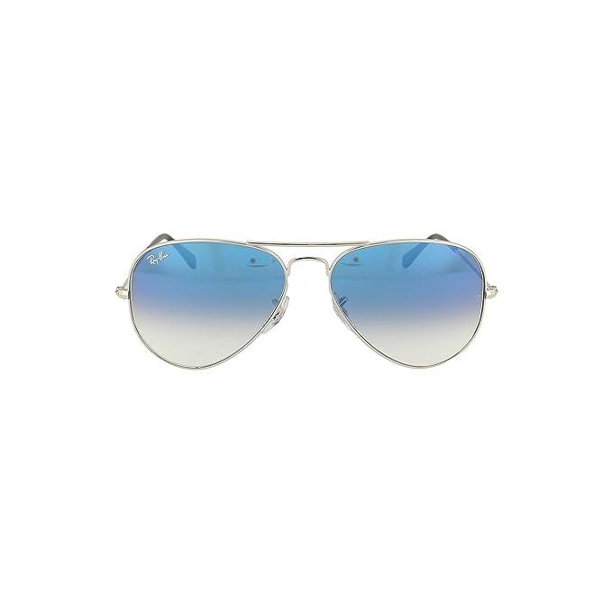 8307c1360 Gafas de sol Ray-Ban Aviator Silver azul degradado RB3025 RB3025 003/3 F  plata 58: Amazon.es: Ropa y accesorios