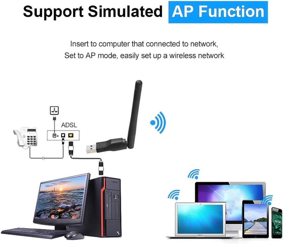 USB 2.0 WiFi Wireless Card 150M 802.11 B//G//N LAN Adapter with Rotatable Antenna for Laptop Mini Dongle Wi-Fi WiFi Wireless Adapter