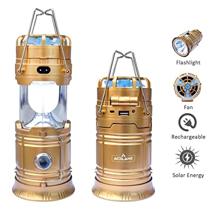 569d172bbff Acelane 4 in 1 Portable LED Camping Lantern Flashlights Rechargeable Light  and Fan with USB Power