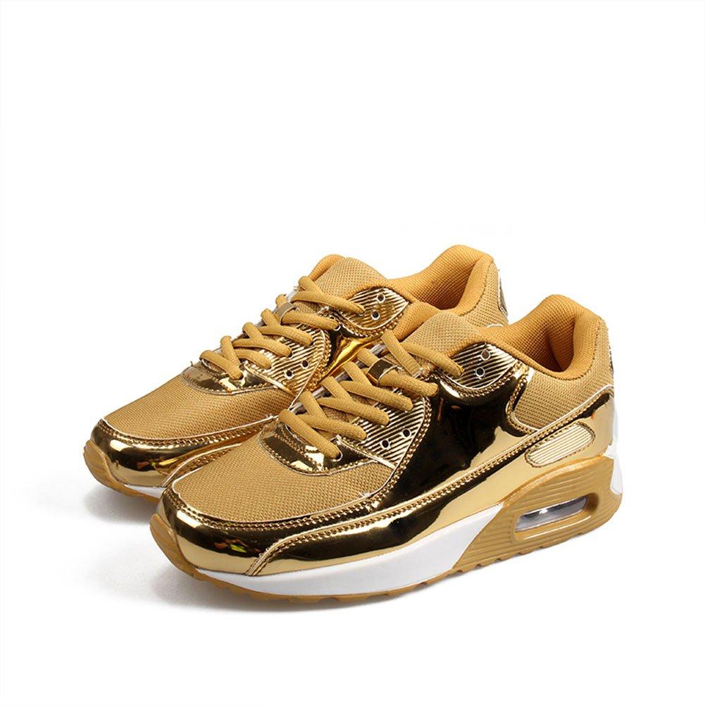Damenschuhe Turnschuhe Paar Schuhe Casual Retro Sportschuhe im Freien Bequeme Lauf Männer und Frauen mit dem gleichen Absatz Schwarz Gold Rosa Silber36-46 (Farbe   Gold Größe   37)