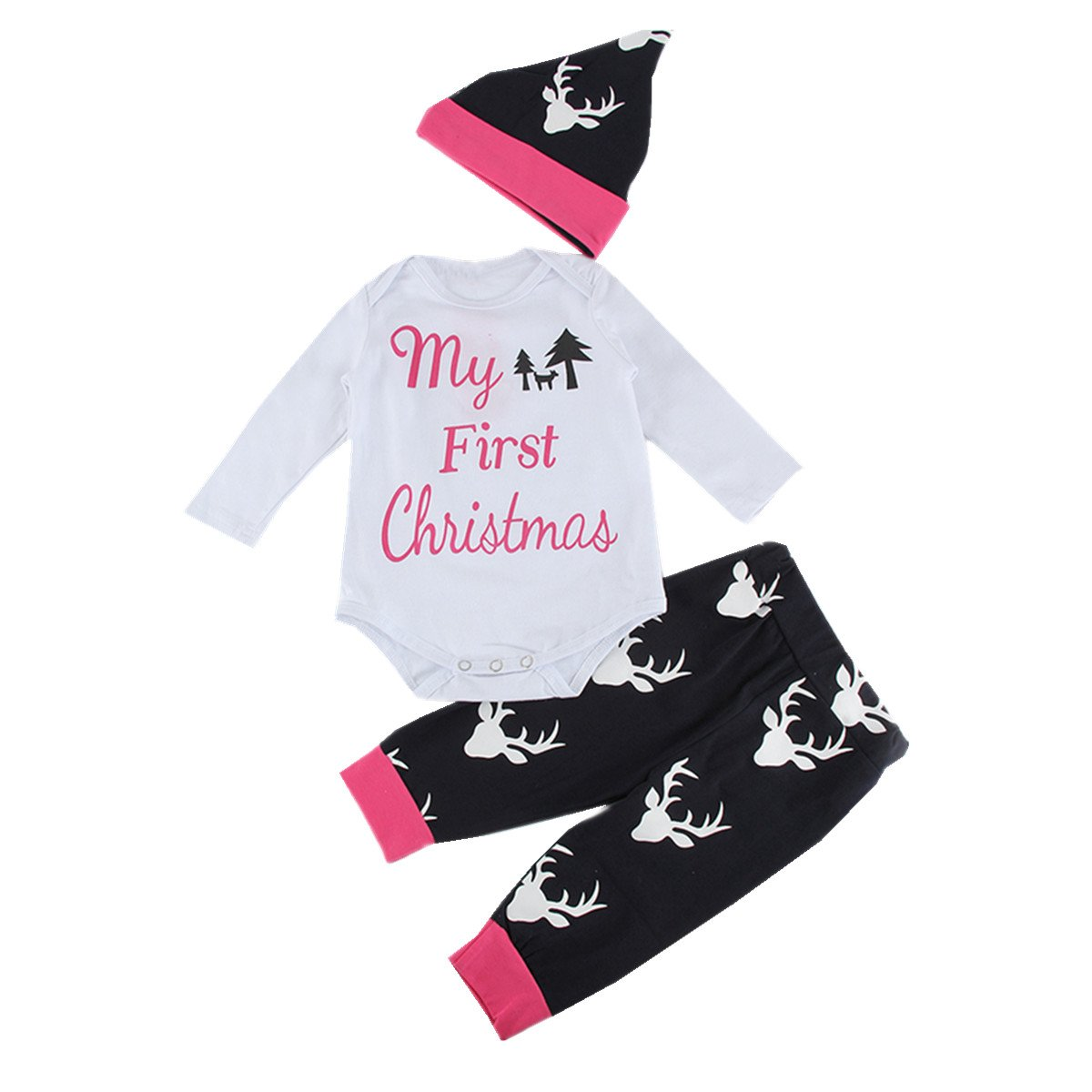 Puseky Newborn Baby My First Christmas Romper Tops+Deer Pants+Hat Outfits Set (0-6 Months)
