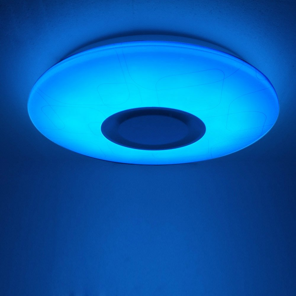 24W Dimmable Modern LED Ceiling Light, flush mount light with Music ...