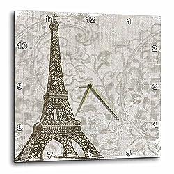 3dRose dpp_99405_3 Vintage Eiffel Tower French Art-Wall Clock, 15 by 15-Inch
