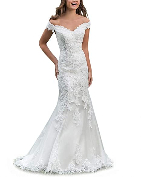 Amazon.com: Beiqian - Vestido de novia para mujer con encaje ...