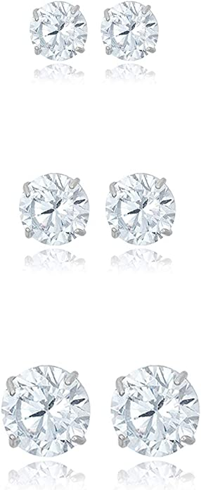Made in USA JCM One Pair of 10k Gold Stud Earrings with Cubic Zirconia in Box