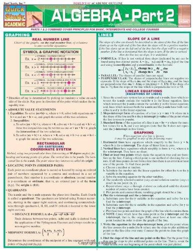 Algebra, Part 2 (Quick Study)