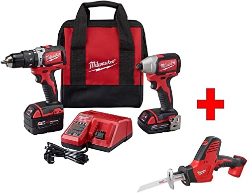 Milwaukee 2799-22CXP M18 Combo Kit 18-Volt Lithium-Ion Cordless Compact Brushless Hammer Drill Impact Combo Kit 2-Tool with M18 Hackzall