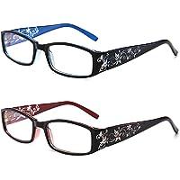 Ultralichte leesbril voor dames, elegant anti-blauw licht met bloemenspiegelvoeten, kleine leesbril