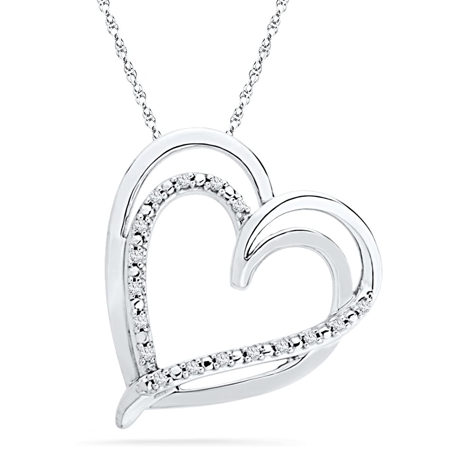 Sterling Silver Round Diamond Double Heart Pendant (1/10 cttw)