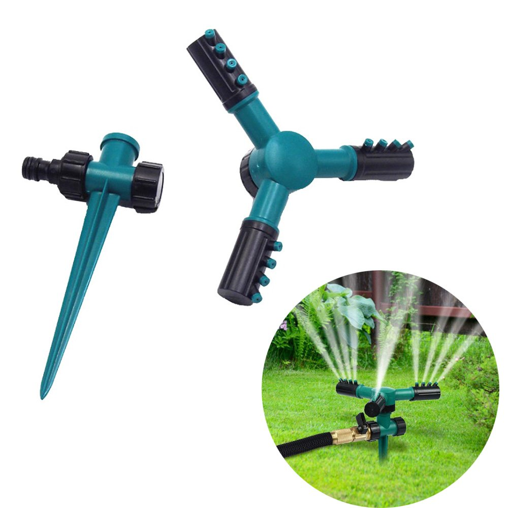 Automatic 360 Rotating Adjustable Garden Water Sprinklers Premium Adjustable Garden Water Sprinklers Cooling Irrigation System, 3 Arm Patio Yard Sprayer HS-01