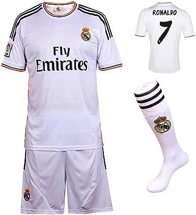 Youth Real Madrid Ronaldo 7 Kids Soccer Jersey /& Shorts Socks Home Boys Sizes Black